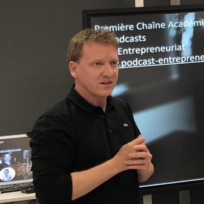Forum de l'innovation Audencia 2019 – présentation de podcast-entrepreneuriat.audencia.com